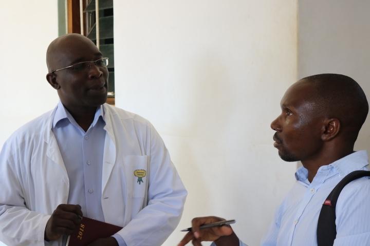 Mr. Deus Nkhota interacting with Mr. Norman Khoza from NEPAD