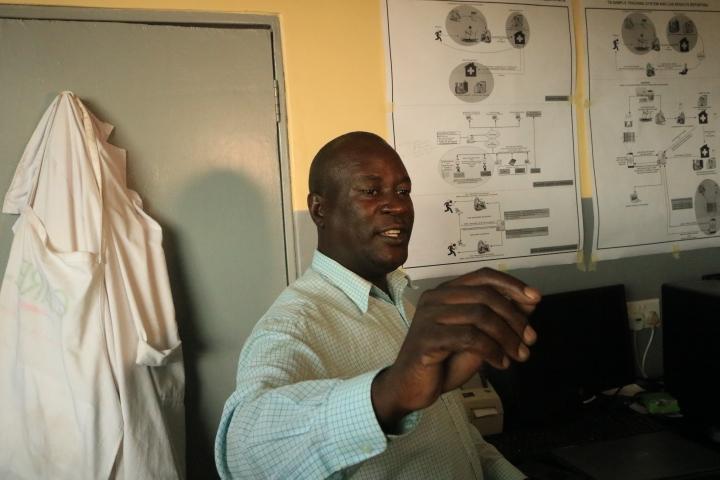 Area 25 Health Centre Laboratory Manager, Mr Nkhunda, explaining to the NEPAD team the benefits of the e-Health System.