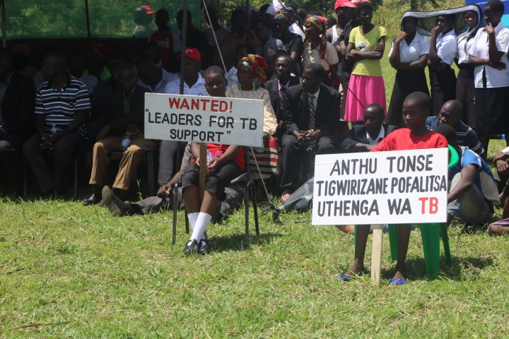 Placards depicting messages for the event