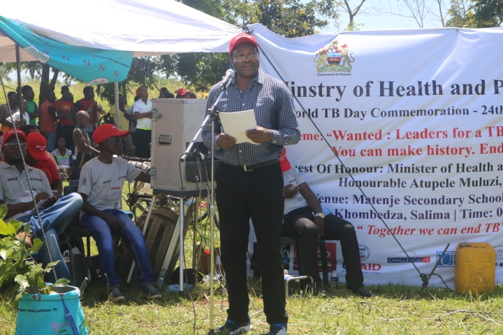 The Acting WHO Country Representative, Dr. Leslie Mgalula giving his speech