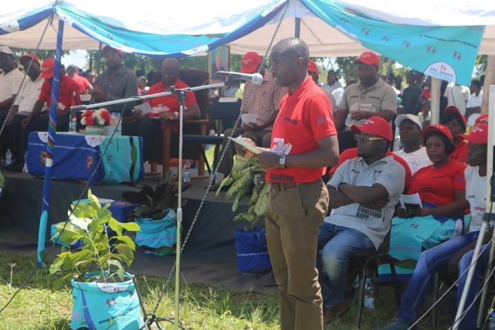 The Secretary of Health, Dr. Dan Namarika, givimg his speech